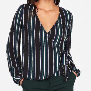 NWT Express Stripe Kimono Sleeve Surplice Wrap Top